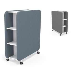 Separadores fonoabsorbentes con estanterías