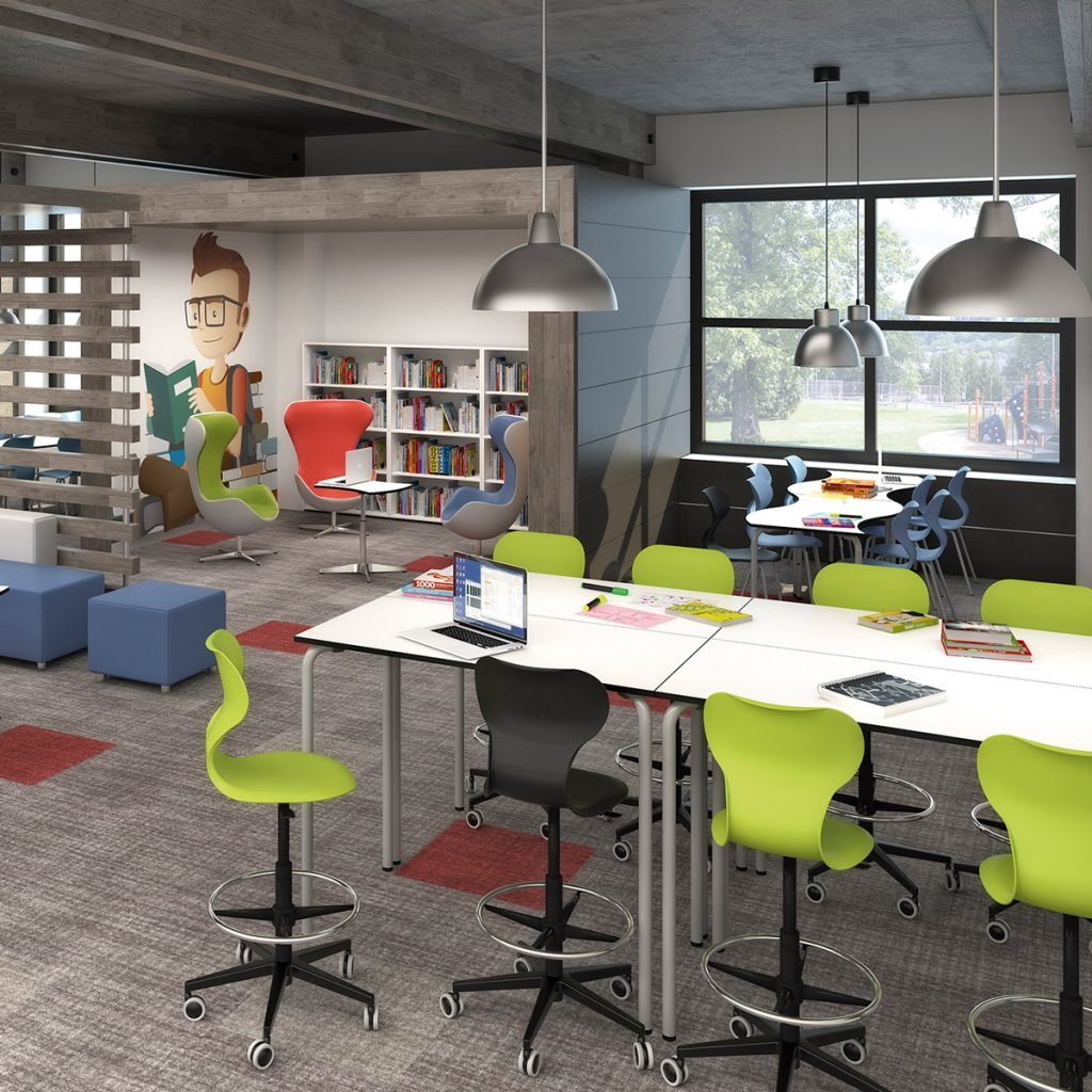 Aula con mobiliario escolar moderno