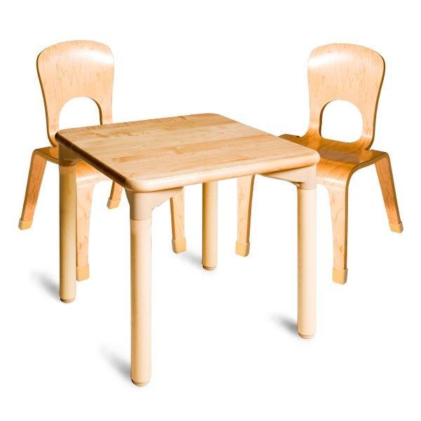 Set mesa cuadrada con 2 sillas en abedúl