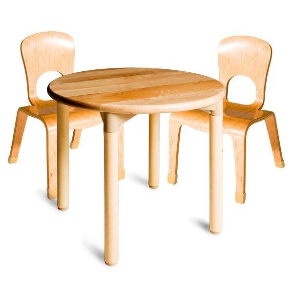 Set mesa redonda con 2 sillas en abedúl