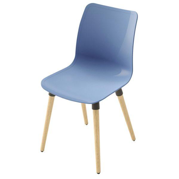 Silla Ulkia con patas de madera. Carcasa azul. Sin tapizar