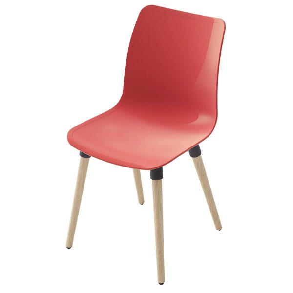 Silla Ulkia con patas de madera. Carcasa roja. Sin tapizar