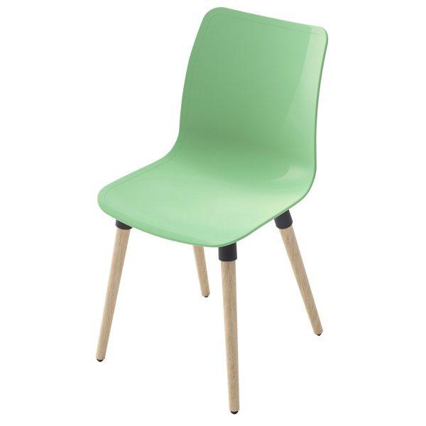 Silla Ulkia con patas de madera. Carcasa verde. Sin tapizar