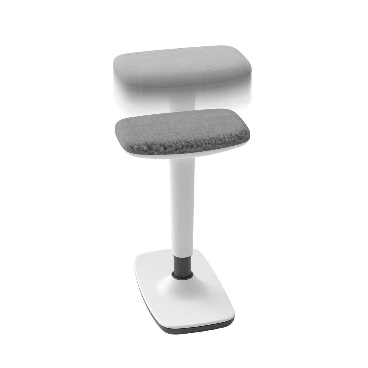 Taburete Tritt regulable en altura color blanco. Tapizado gris