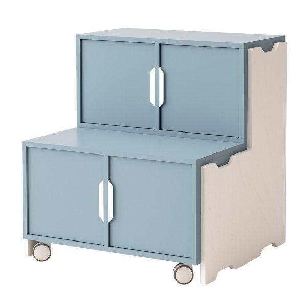 Toteem grada con 2 módulos con puertas, 1 un módulo sin puertas y ruedas. Color azul
