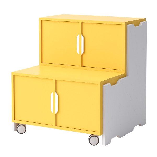 Toteem grada con 2 módulos con puertas, 1 un módulo sin puertas y ruedas. Color mostaza