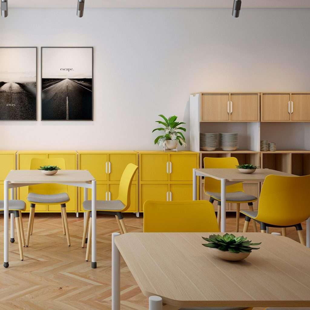 Mobiliario amarillo y roble para restaurantes