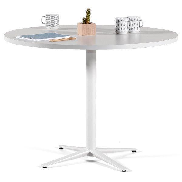 Mesa redonda para reuniones con base cruz