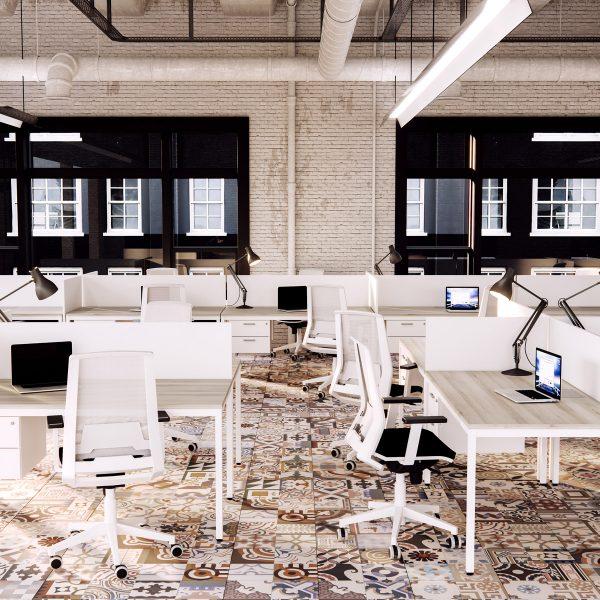 Mobiliario de oficina blanco