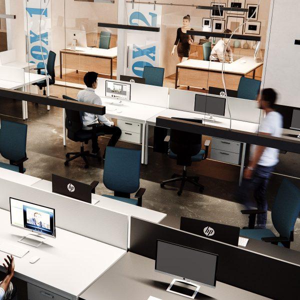 Oficinas grandes con mesa Line